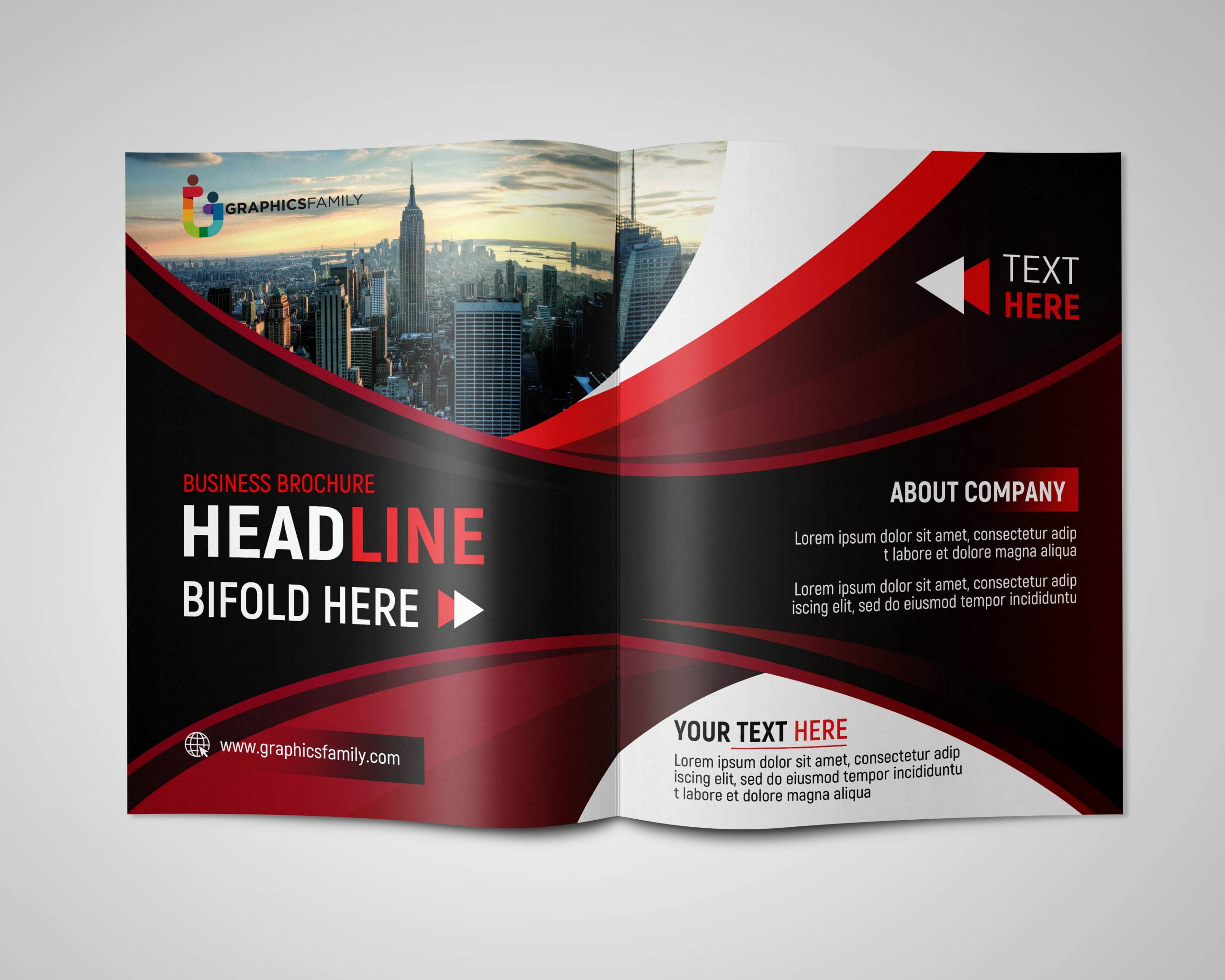 Free Business Brochure PSD Template with Space for Text