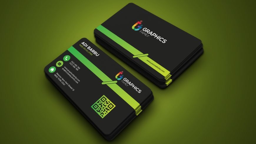 Free Business Card Template with Green Line Design