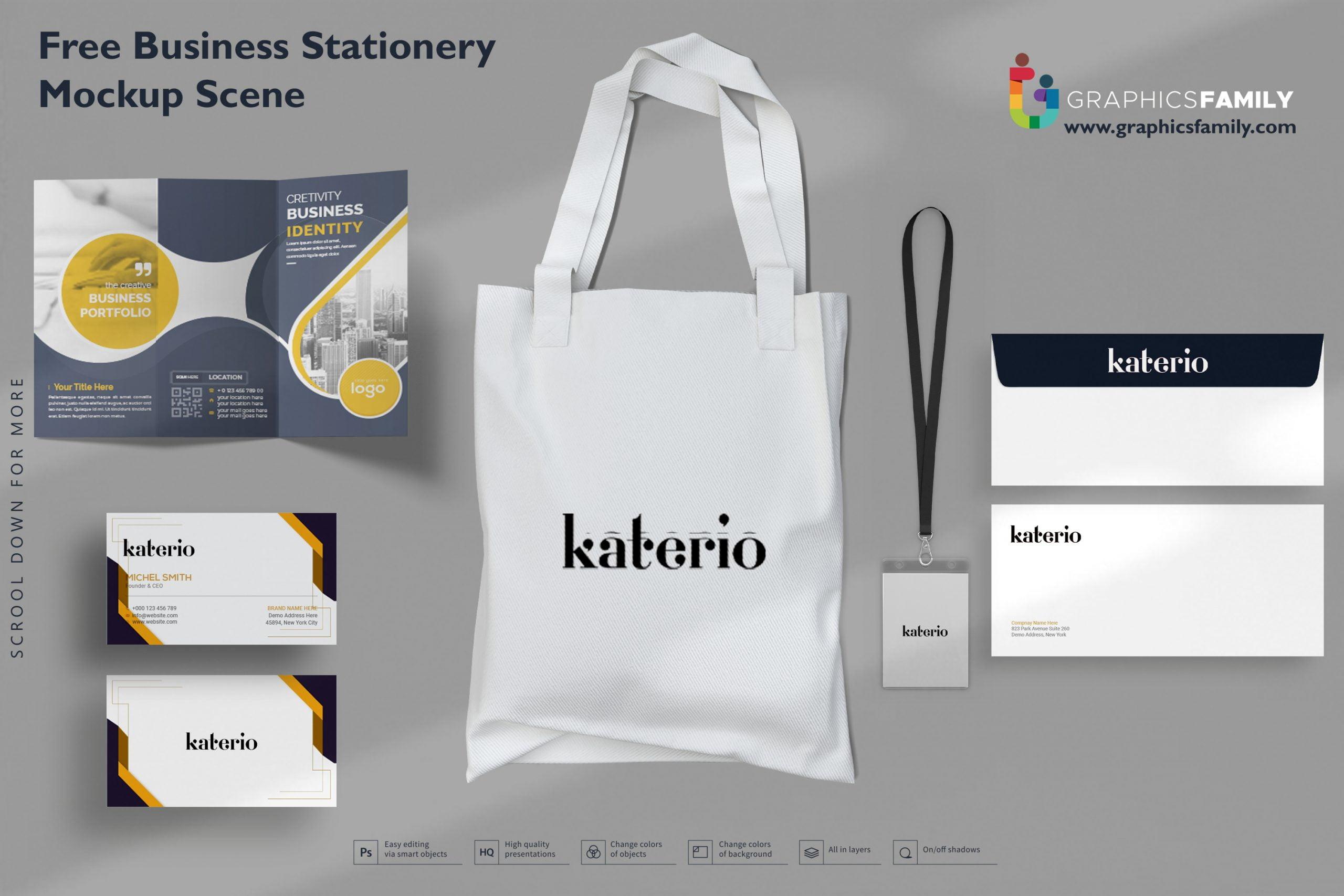 Free Business Stationery Mockup Scene