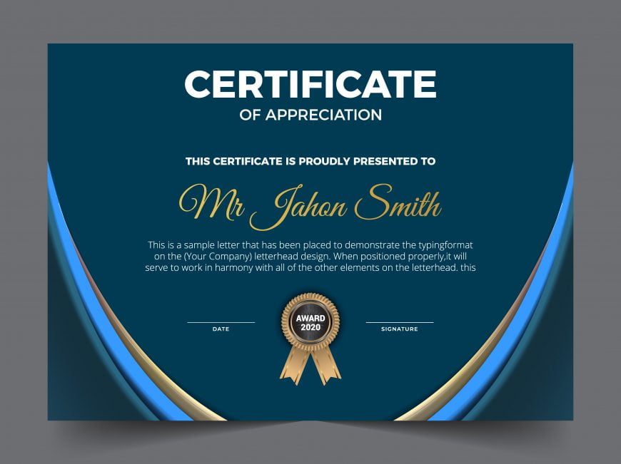 Free Certificate Of Appreciation Award Template