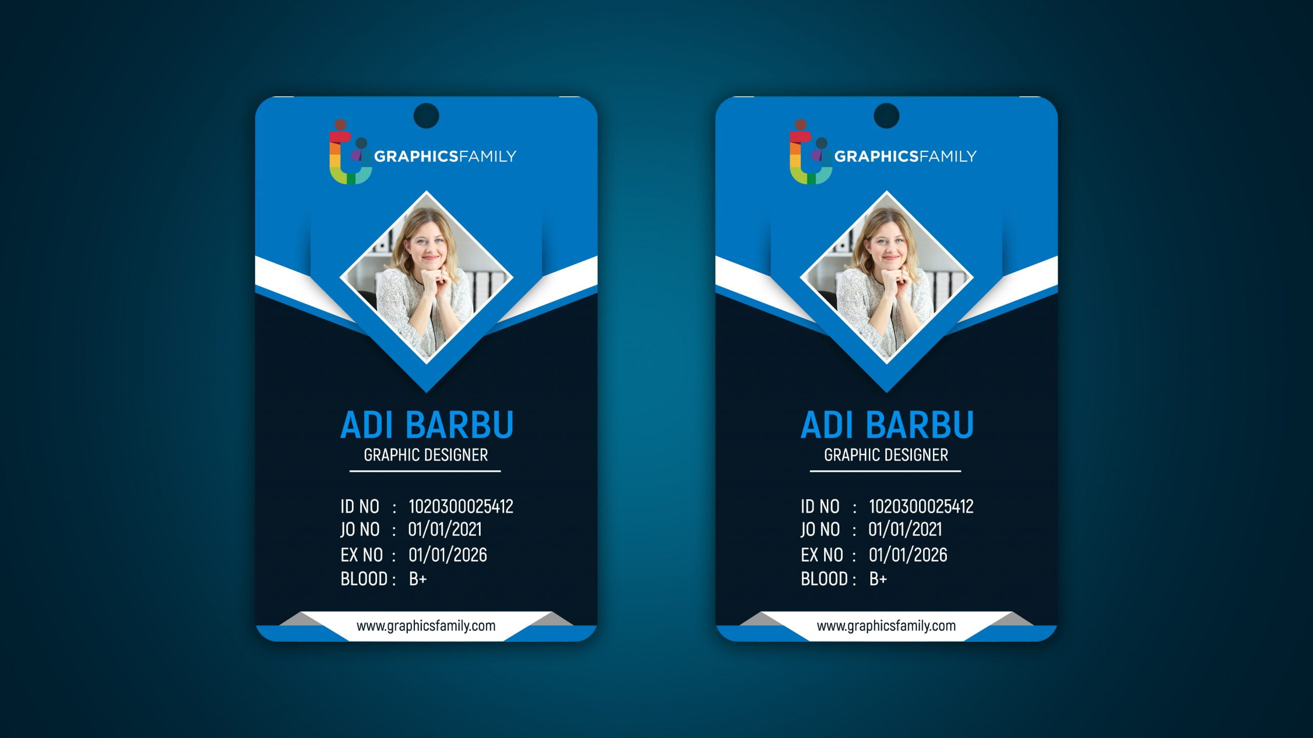 Free Corporate Id Card Design PSD Template
