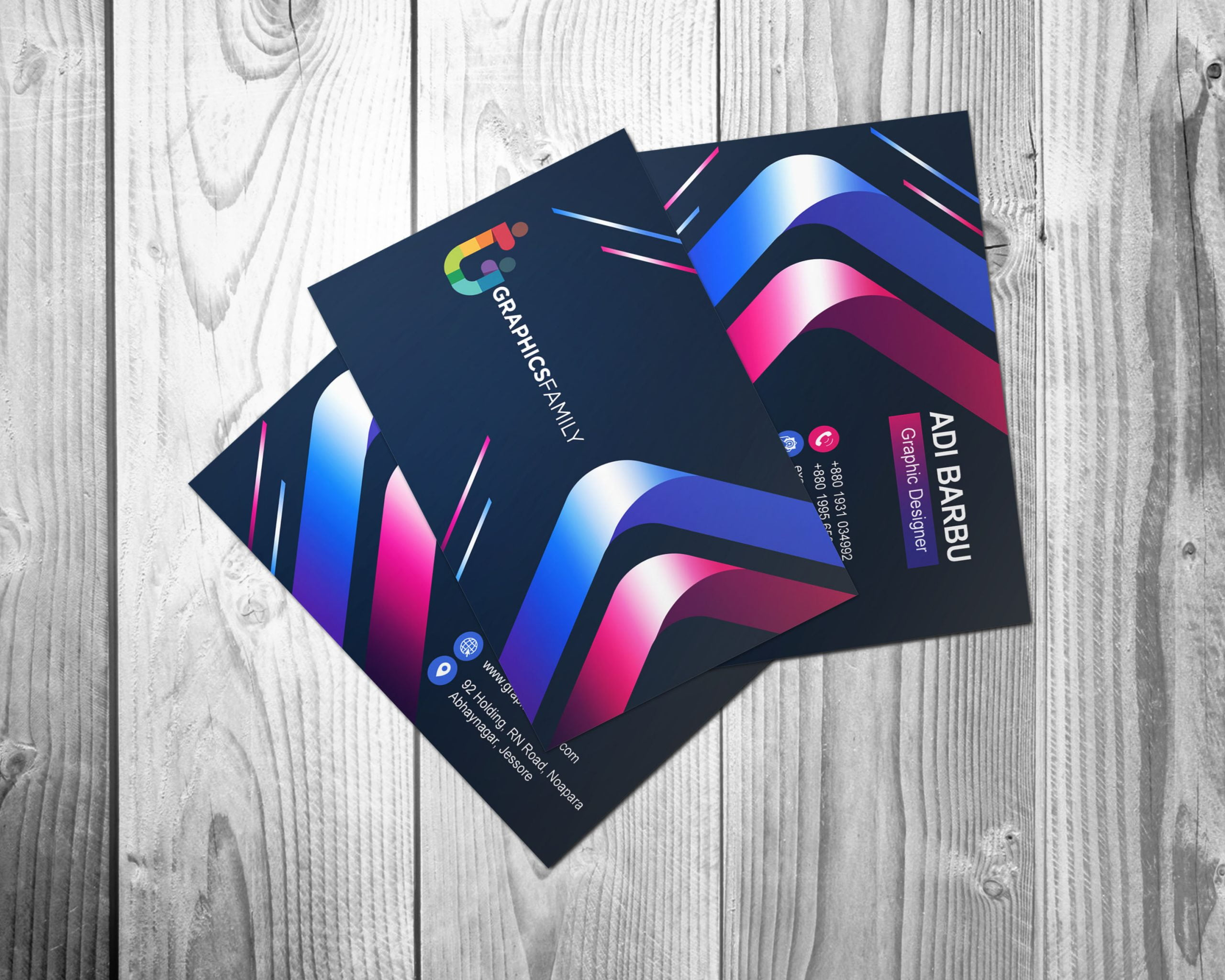 Free Creative Colorful Business Card Design PSD