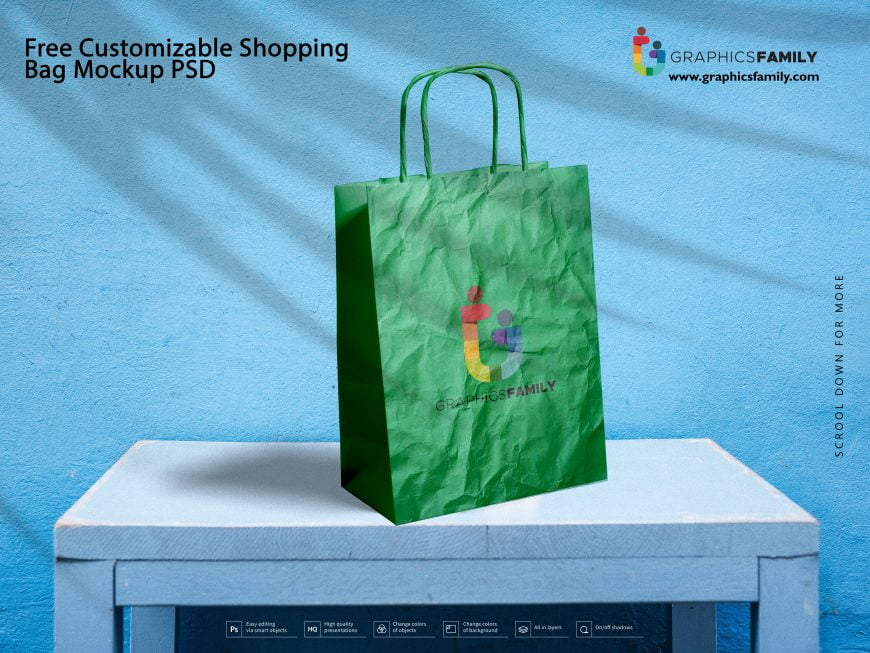 Free Customizable Shopping Bag Mockup PSD