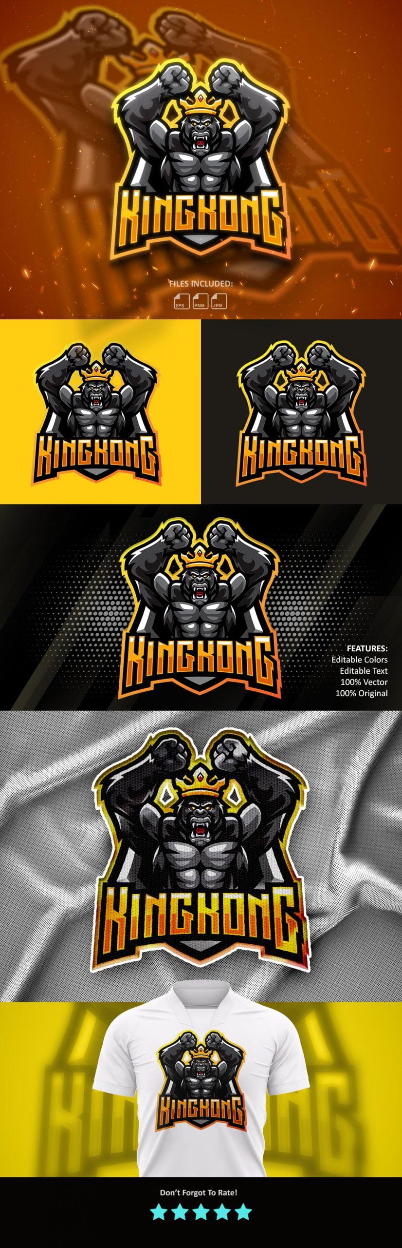 KingKong Esports Mascot Logo Template