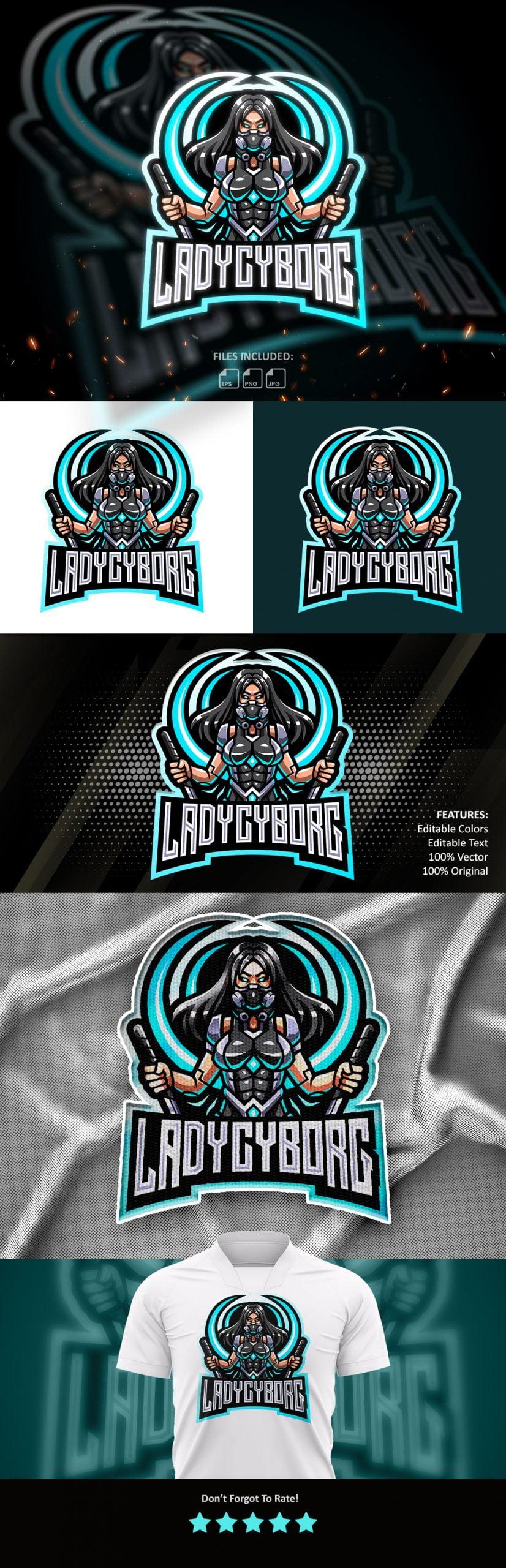 Lady Cyborg Esports Mascot Logo Template