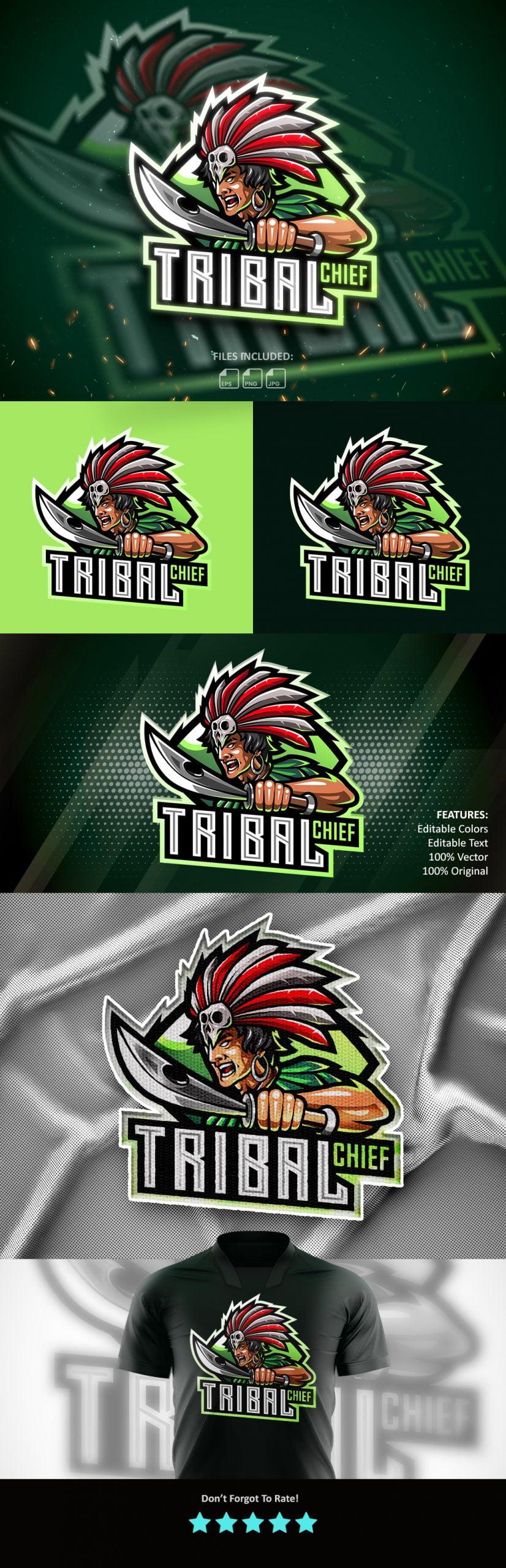 Free Tribal Chief Mascot Logo Template
