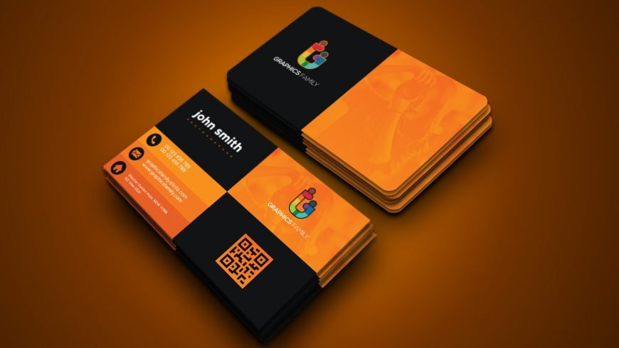 Free Elegant Orange and Black Business Card Template