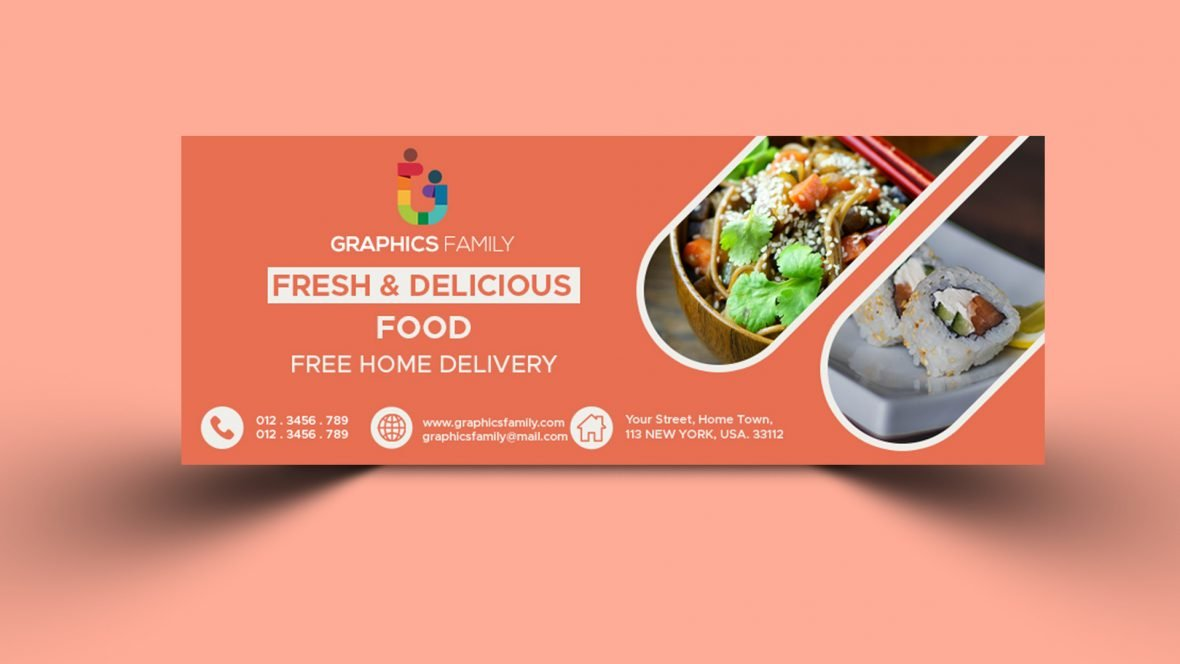Free Food Delivery Facebook Cover Template