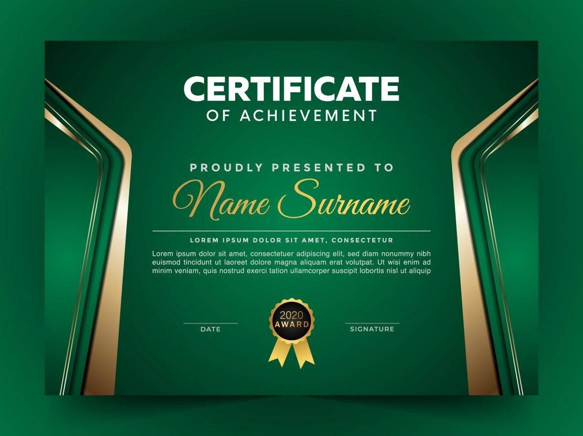 Free Green Certificate Design Template