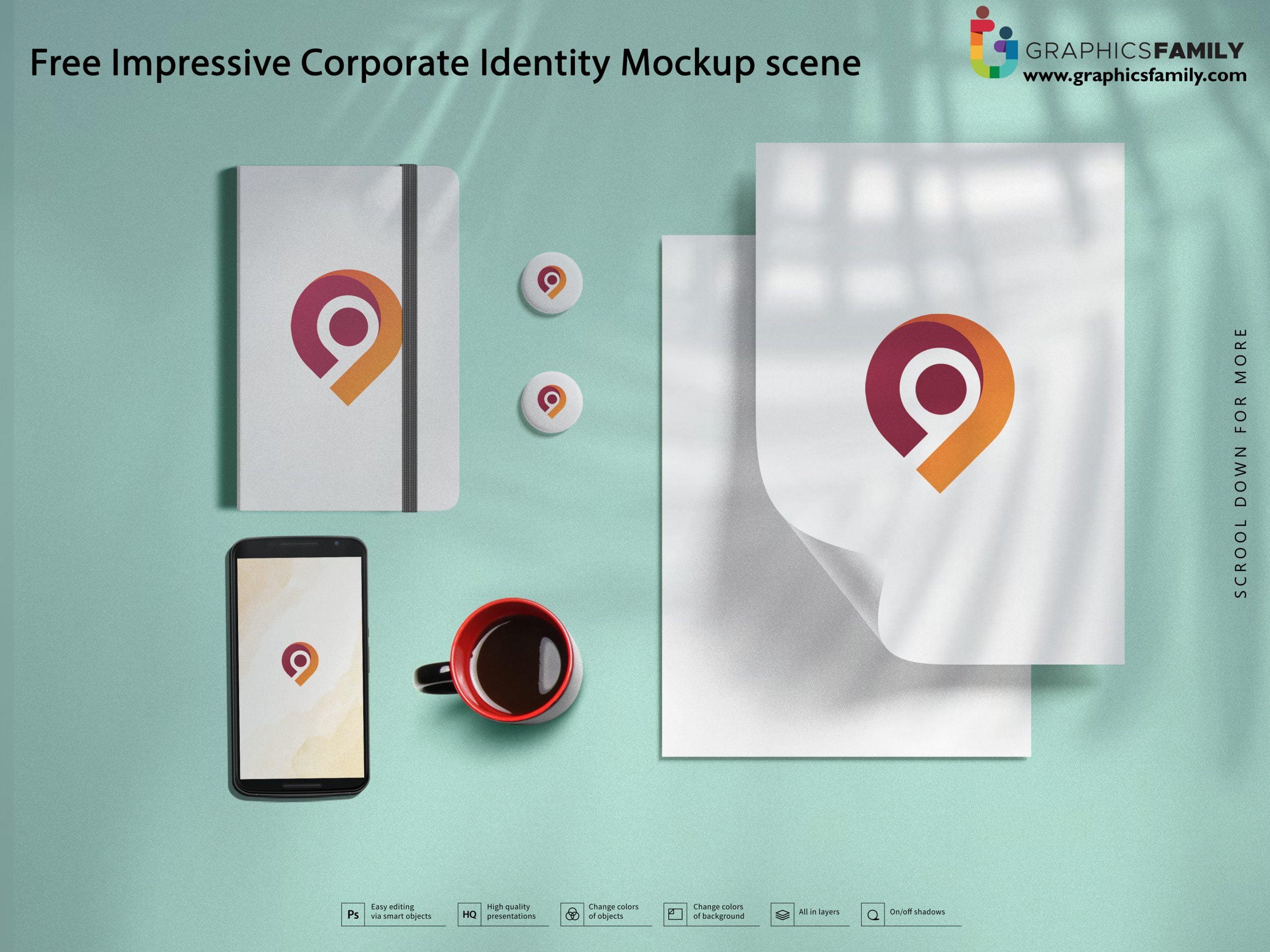 Free Impressive Corporate Identity Mockup scene Download