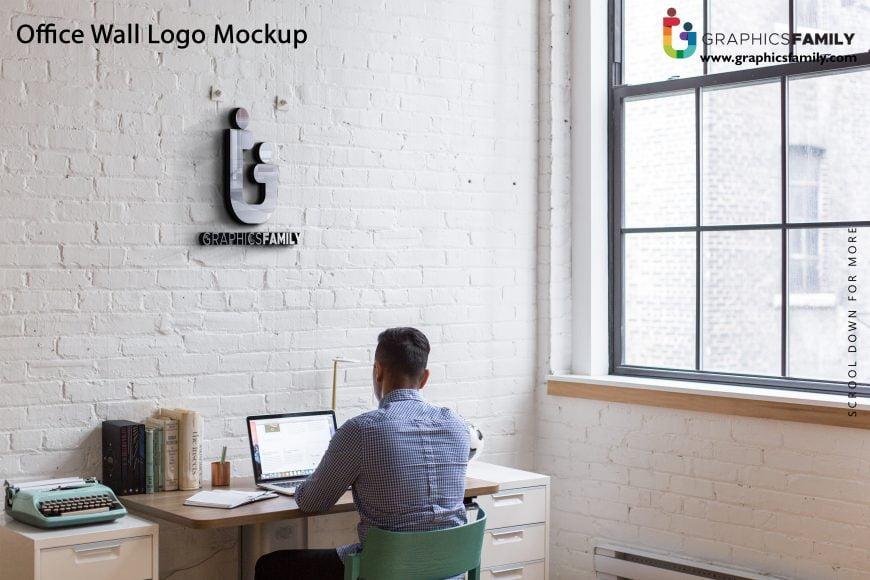 Free Interior Office Wall 3D Logo Mockup