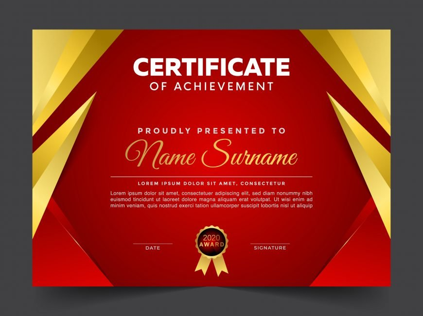 Free Luxury Red and Gold Certificate Design