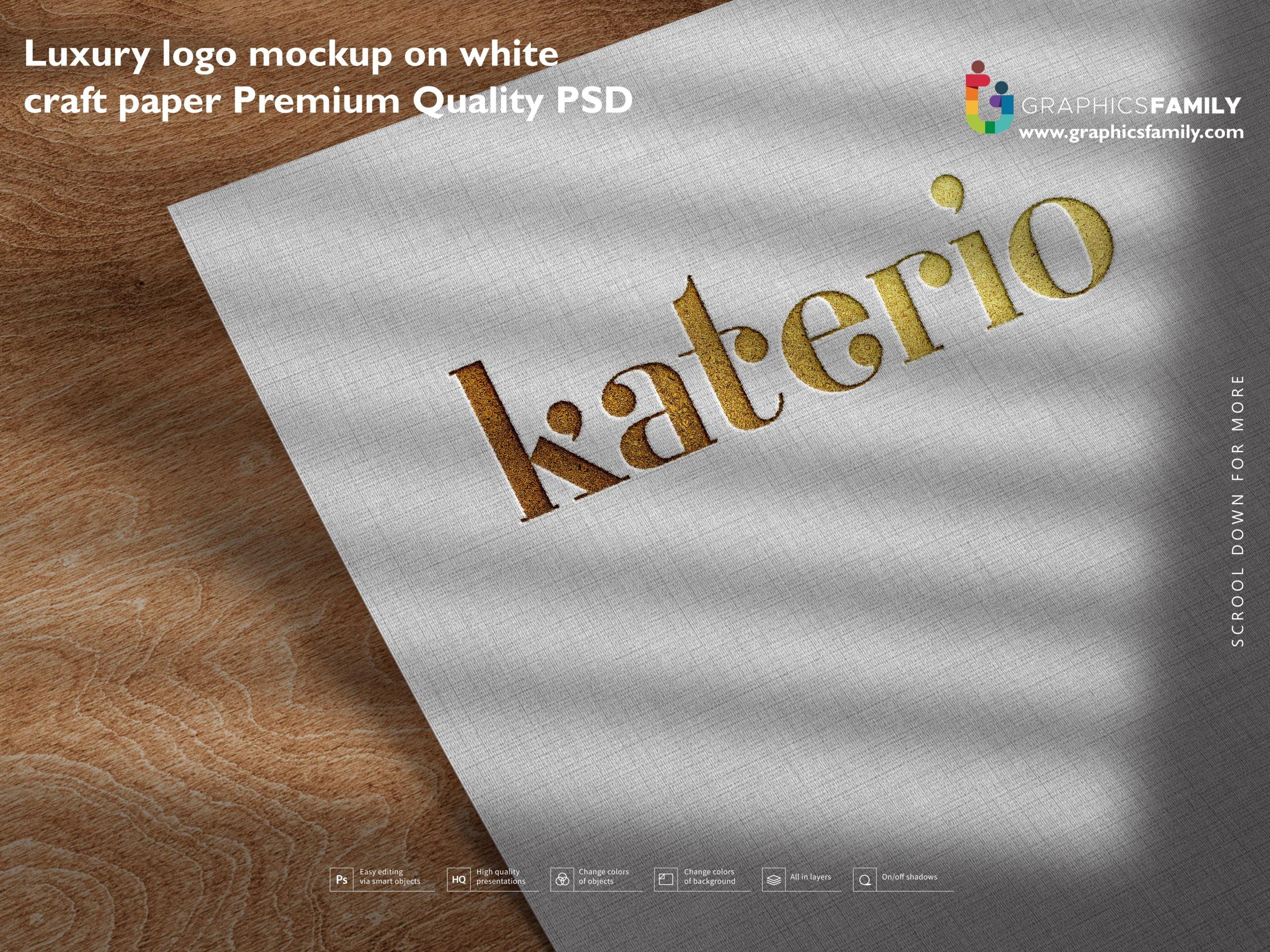 Free Luxury logo mockup on white craft paper Premium Quality Psd Download