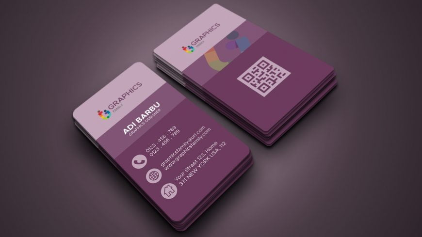 Free Modern Vertical Business Card Template