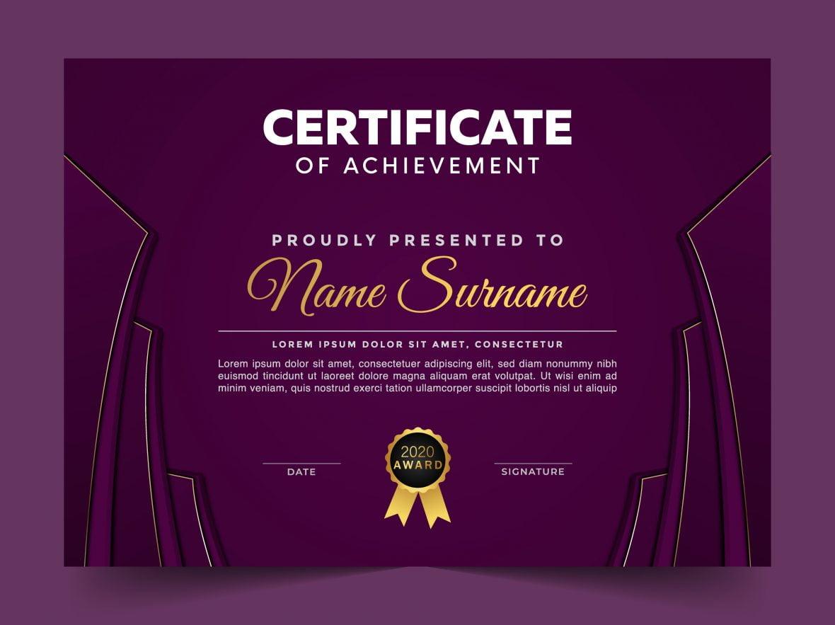 Free Modern Violet Certificate Template