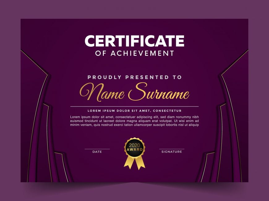 Free Modern Violet Certificate Template