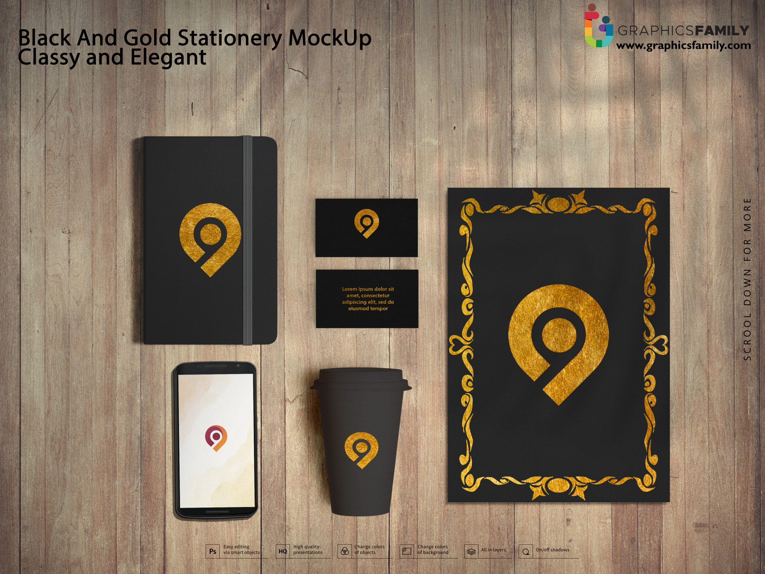 Free PSD Black And Gold Stationery MockUp Classy and Elegant