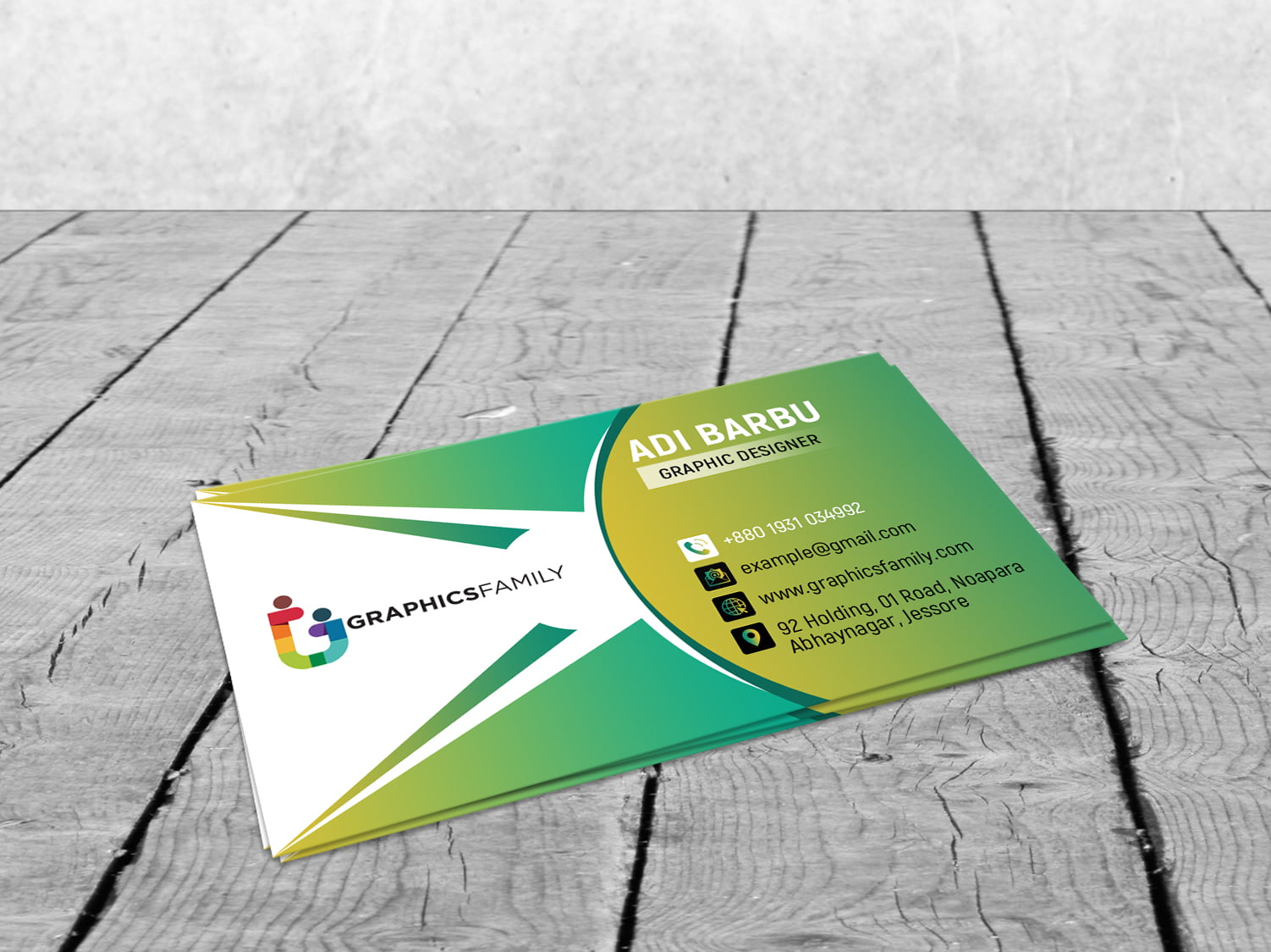 Free PSD Green Elegant Corporate Card