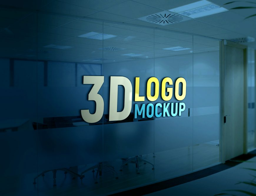 Free PSD Logo Mock-up on Office Glass Wall by GraphicsFamily
