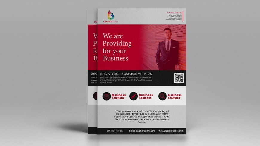 Free Photoshop Abstract Business Flyer with Photo Template