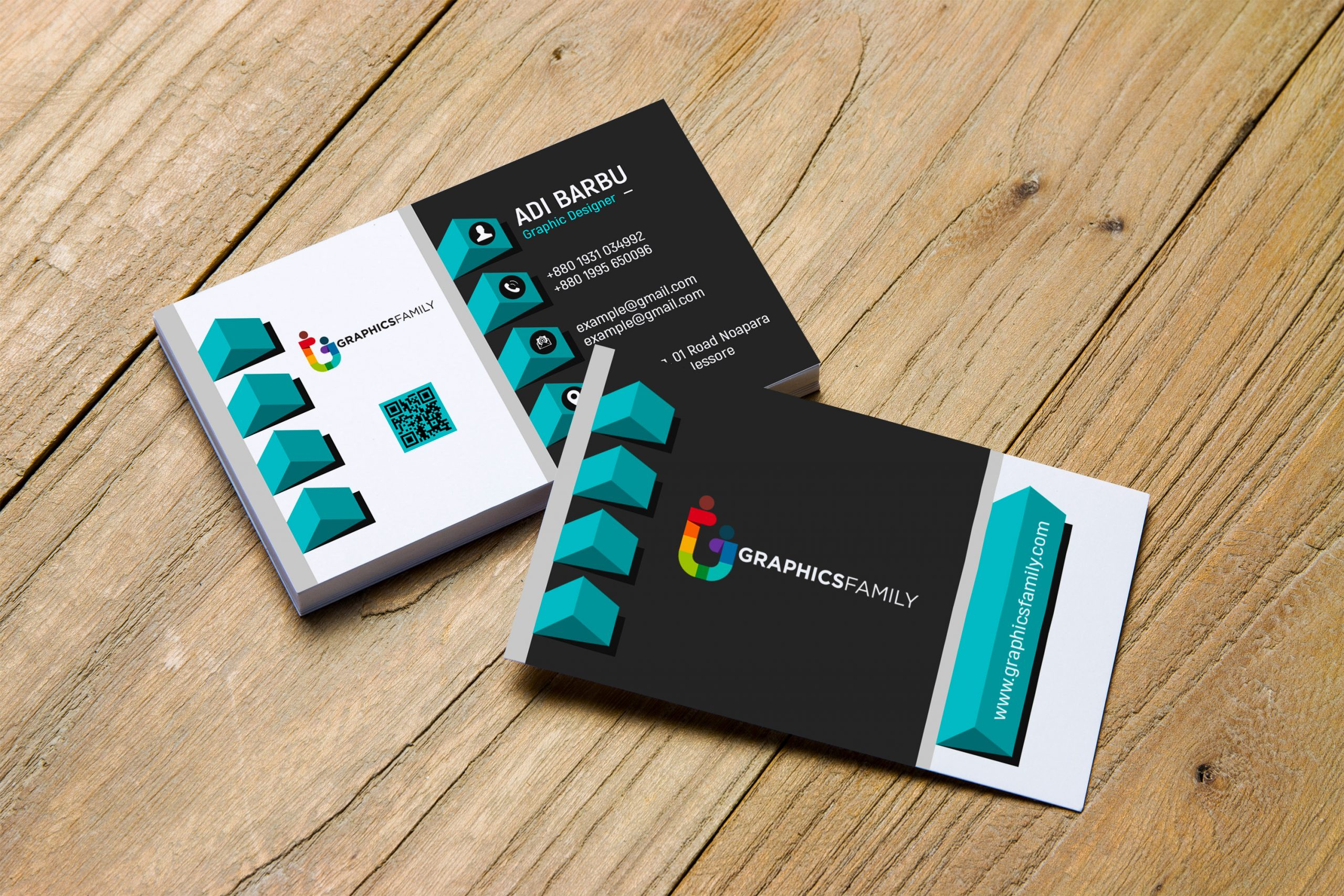 Free Photoshop Elegant realistic 3D Business Card Template