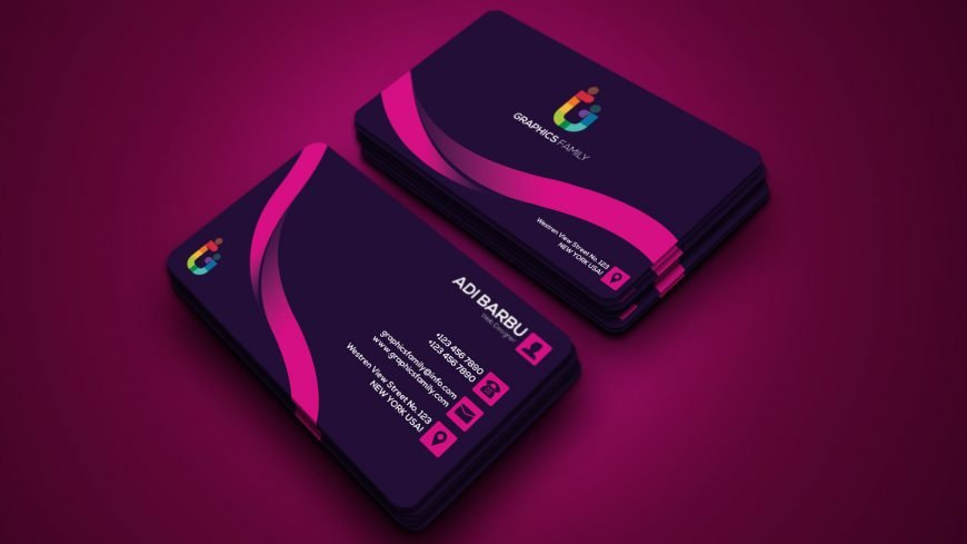 Free Pink Abstract Business Card Design