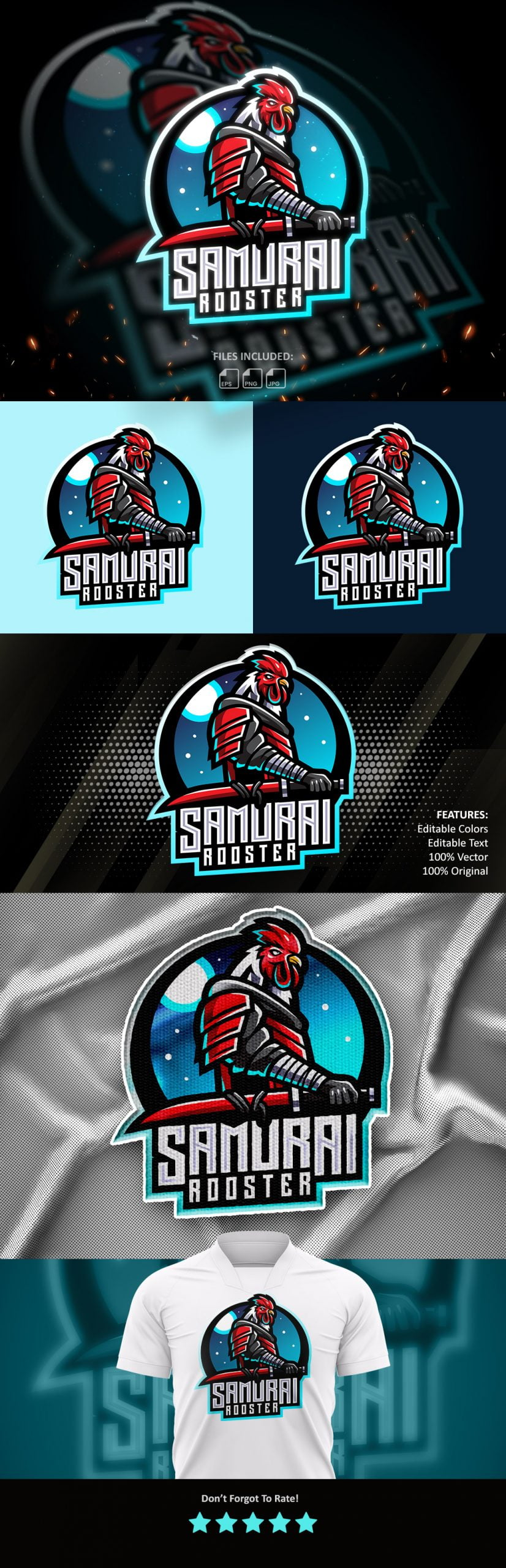 Free-Samurai-Rooster-Esports-Mascot-Logo-Template