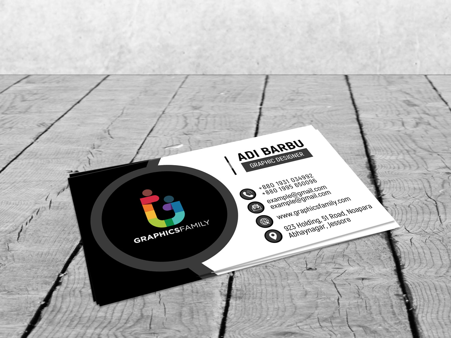 Free Simple Black and White Business Card Design