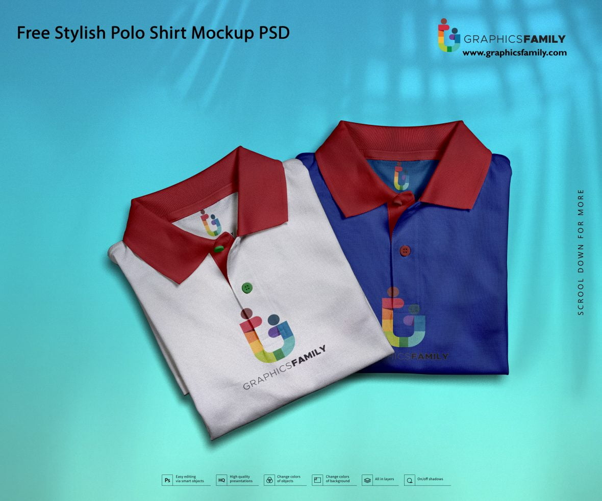 Free Stylish Polo Shirt Mockup PSD Download