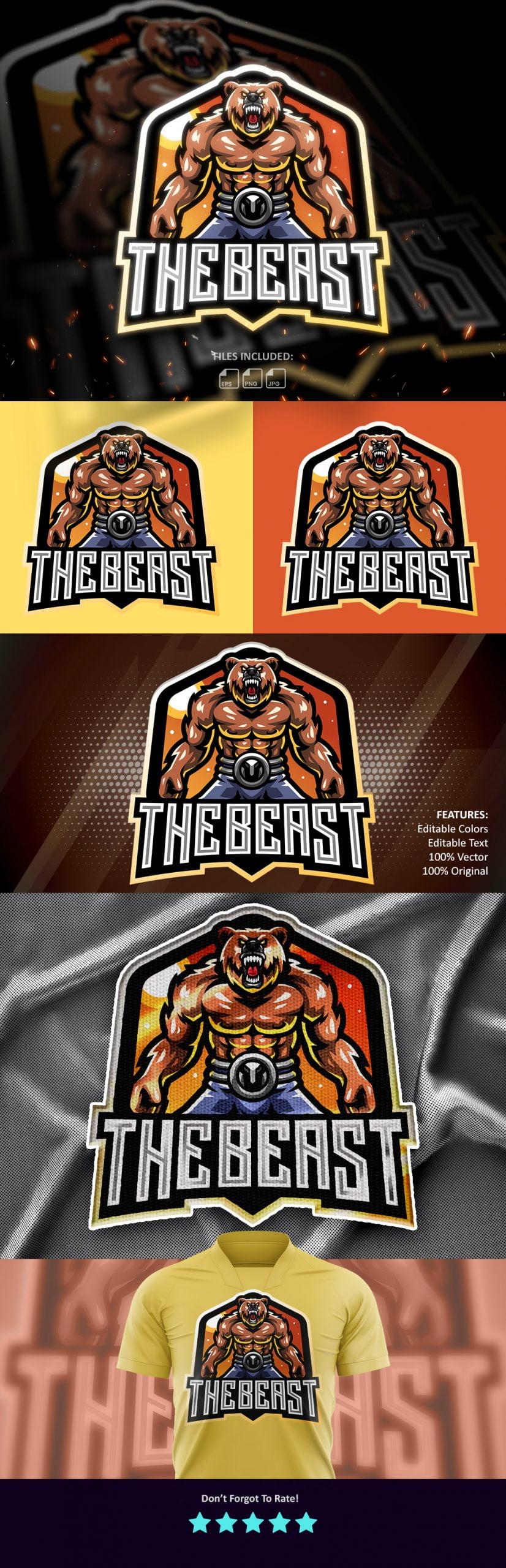 Free-The-Beast-Esports-Mascot-Logo-Template