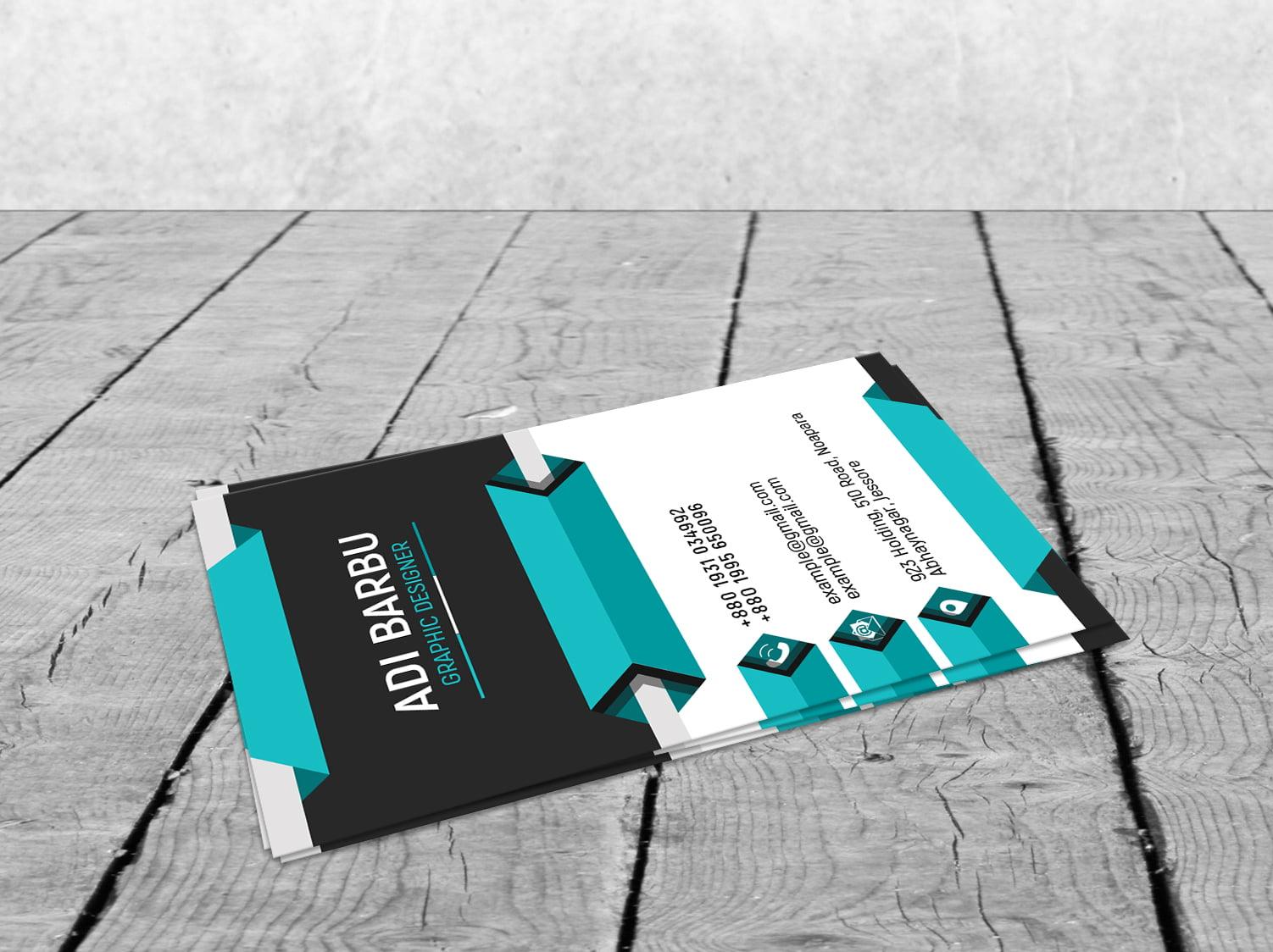 Free Vertical 3D Business Card Design
