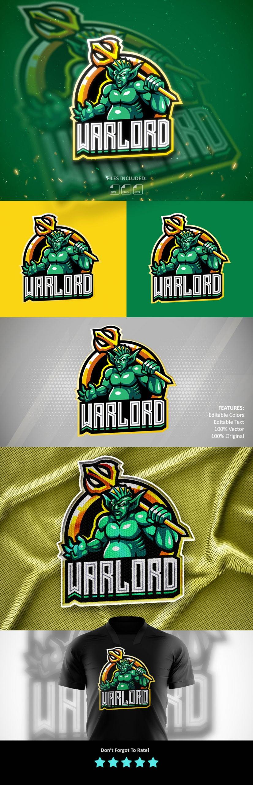 War Lord Esports Mascot Logo Template