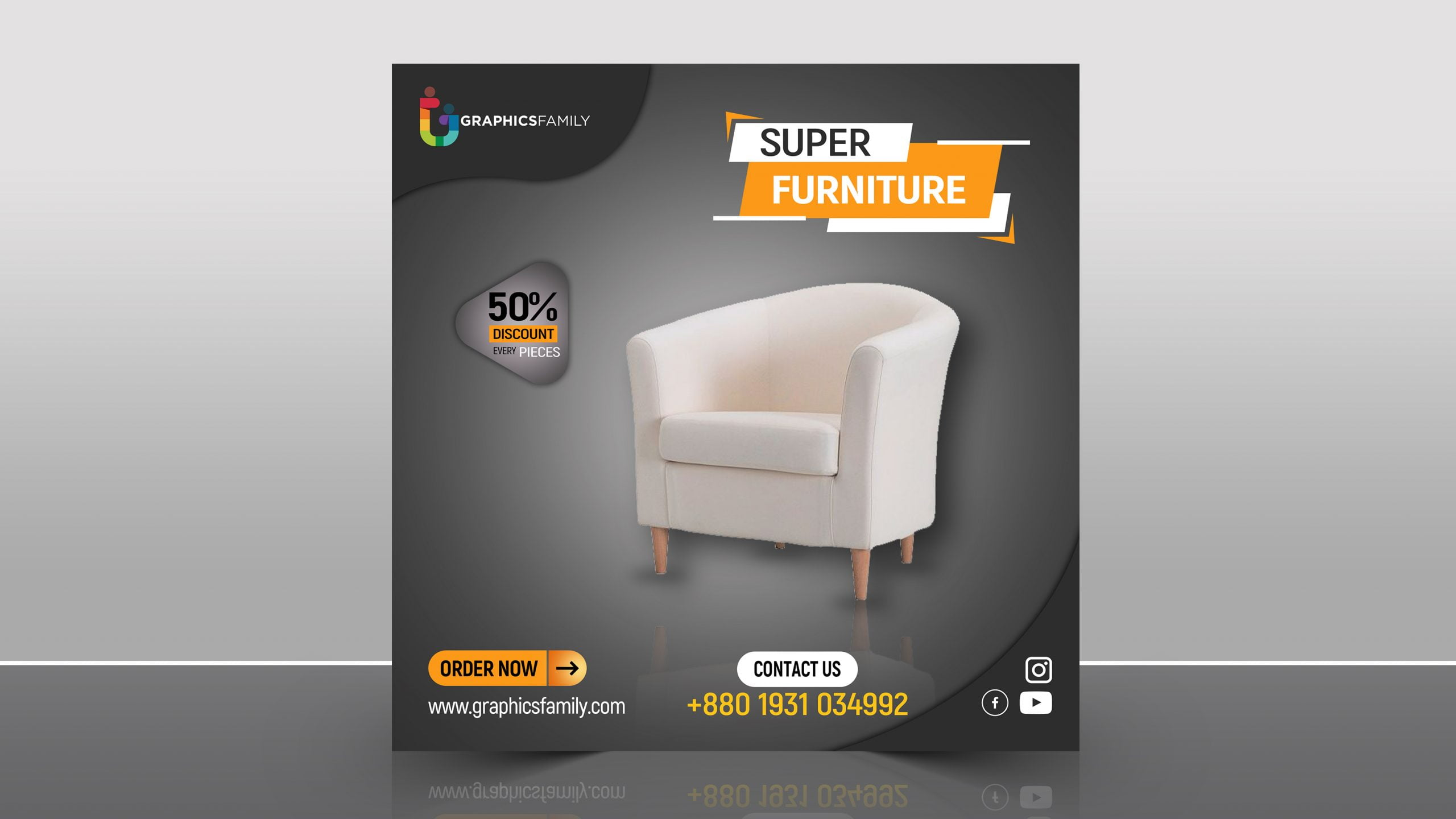 Furniture Store Instagram Post Design Free PSD Download