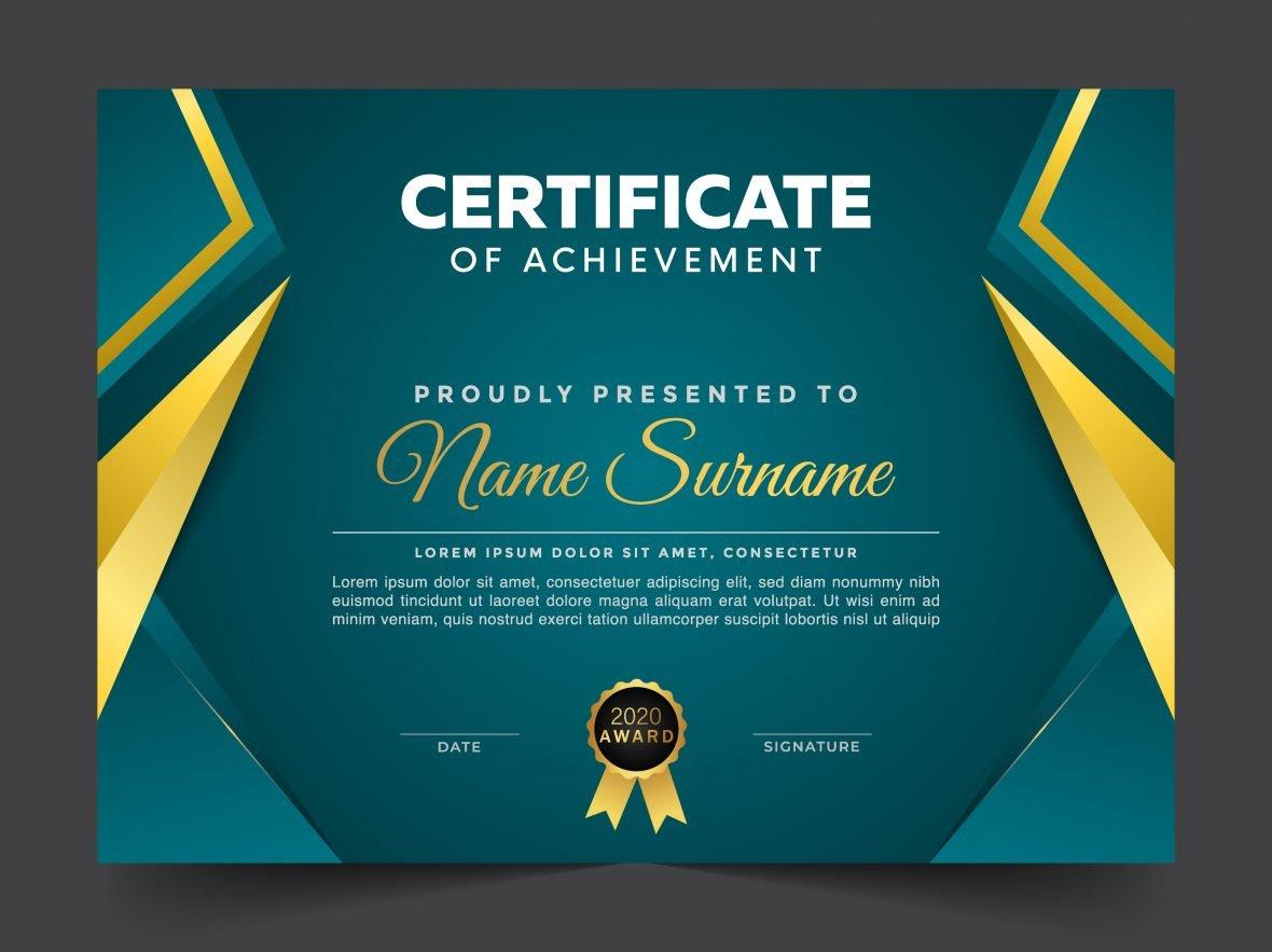 Geometric premium golden multipurpose certificate template