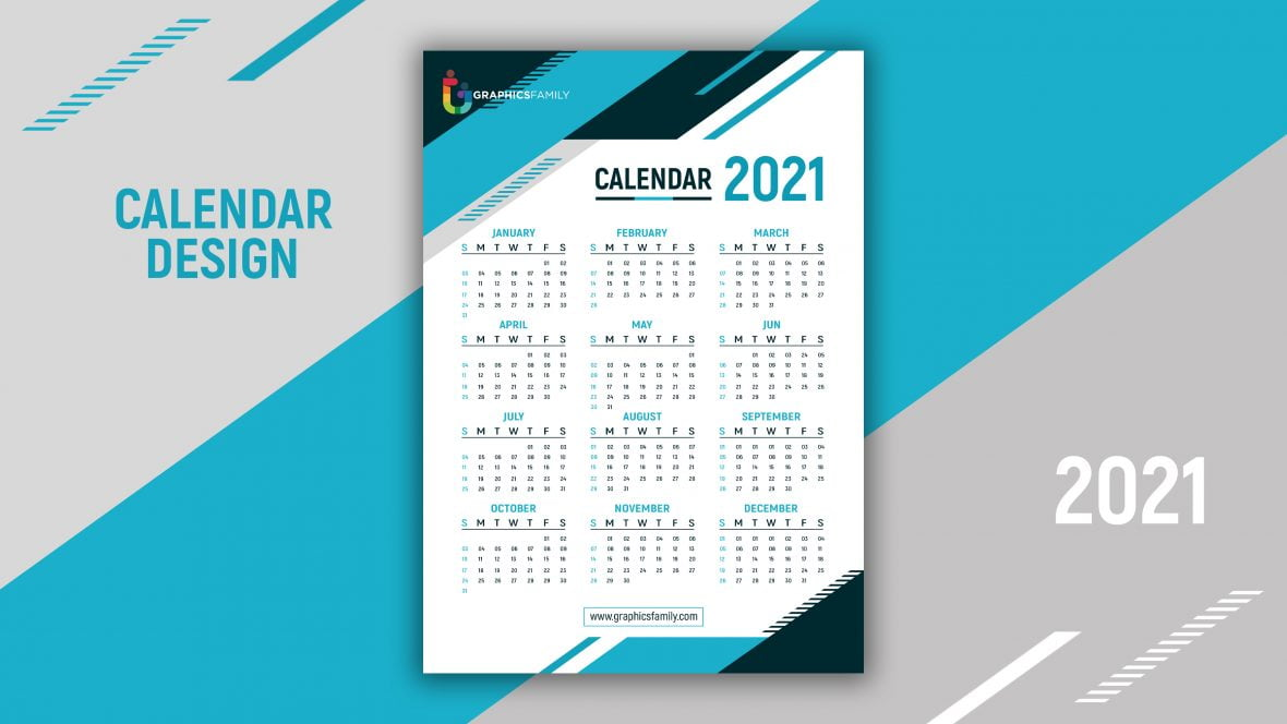 Geometric style professional 2021 calendar Blue design template Free Vector