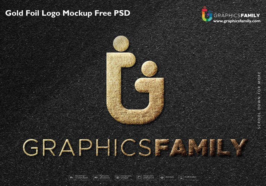 Gold Foil Logo Mockup Free PSD