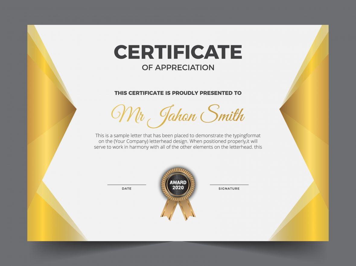 Golden classic certificate of achievement template