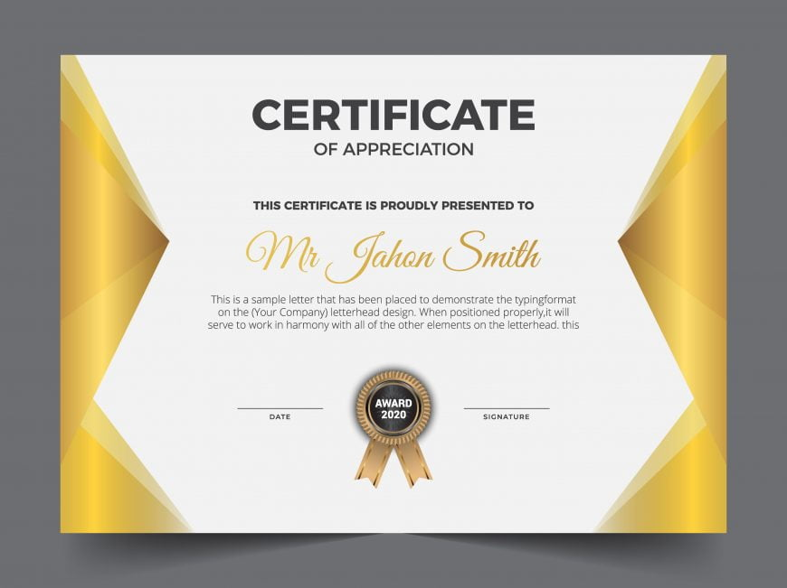 Golden classic certificate of achievement template