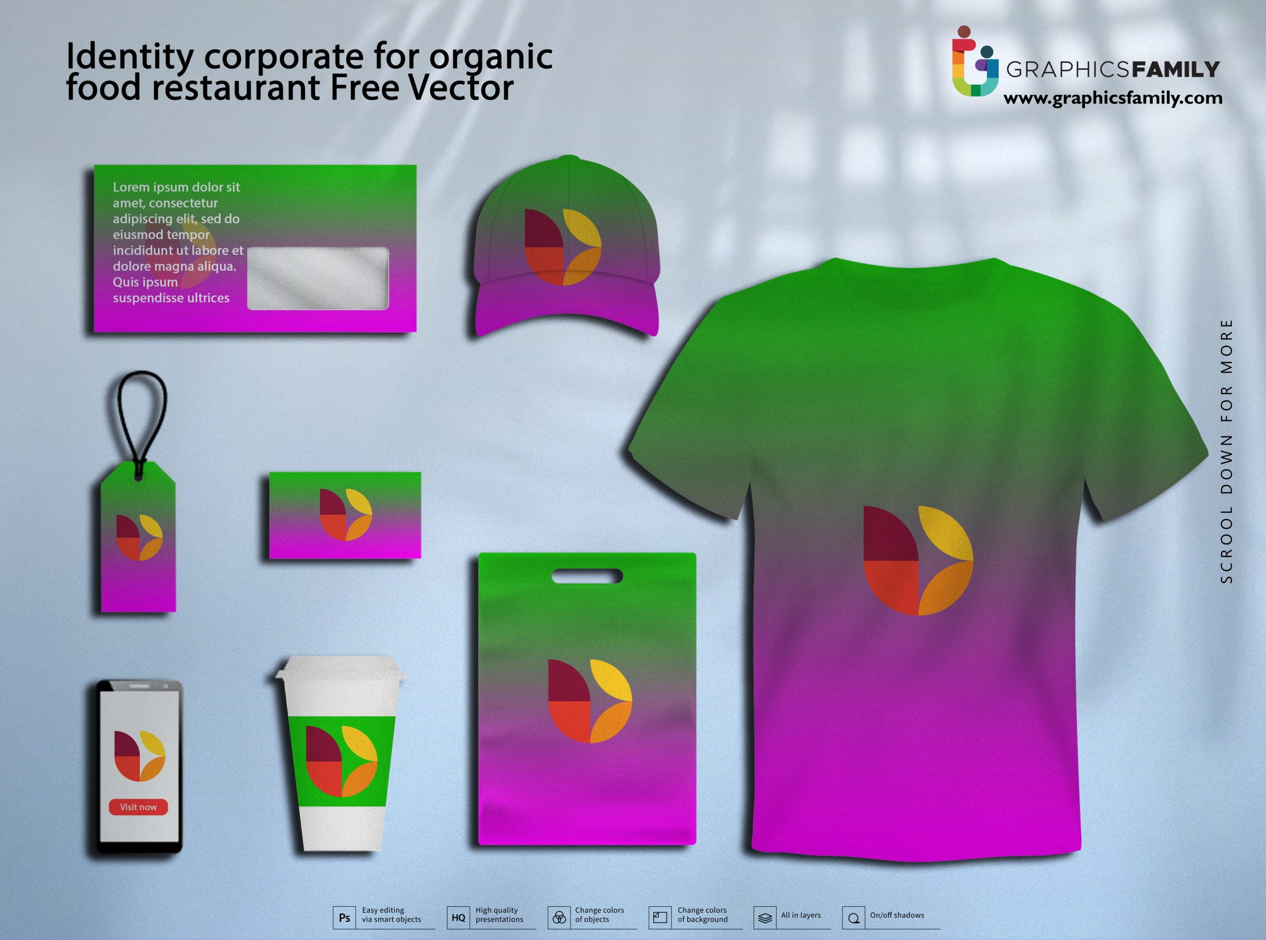 Identity corporate for organic food restaurant Free Vector Download