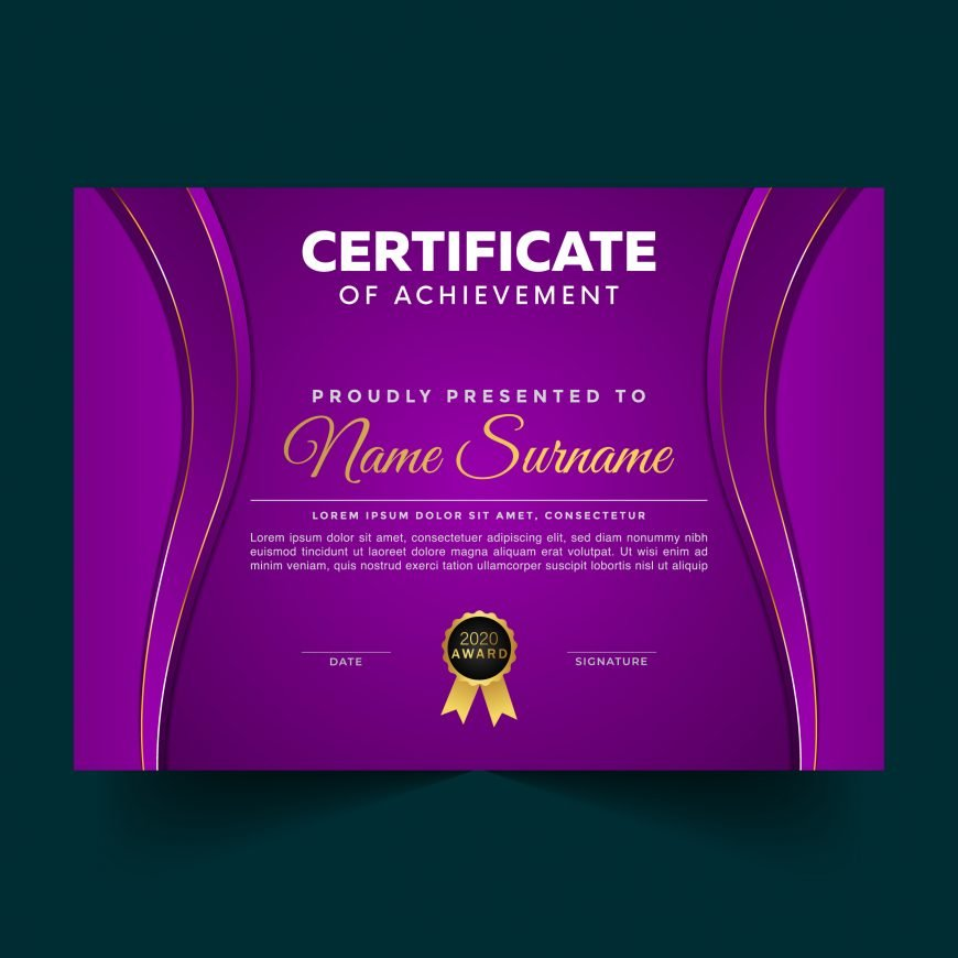 Luxury Violet Certificate Achievement Template