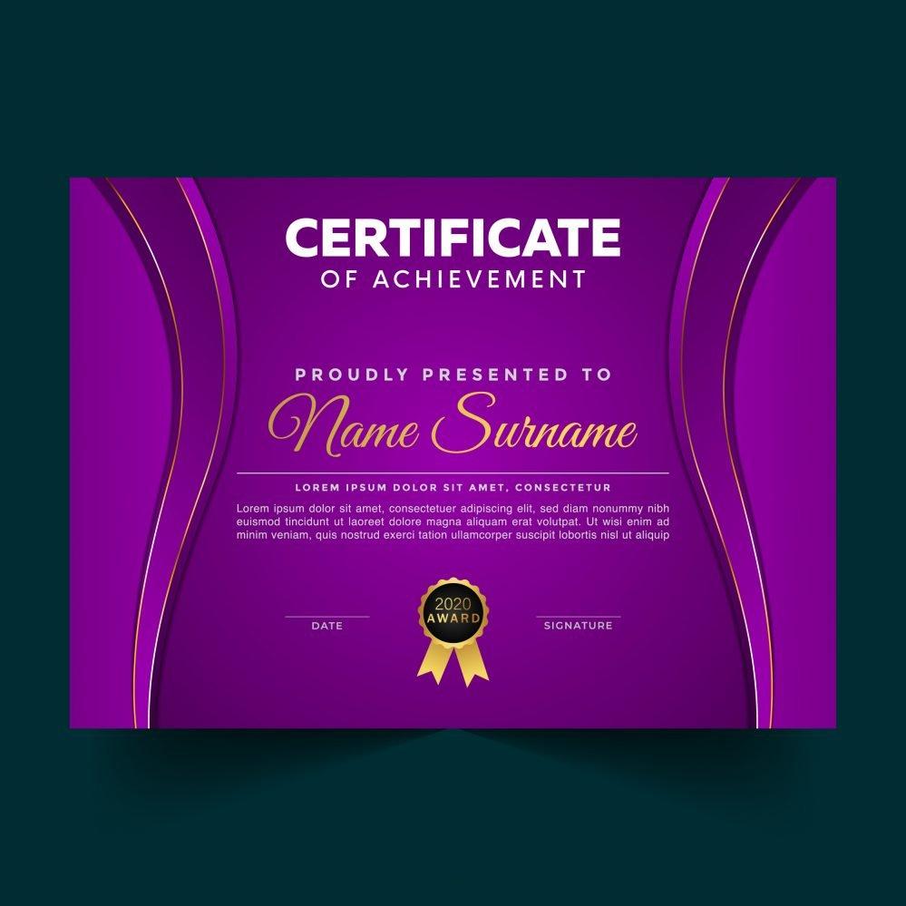 Luxury Violet Certificate Achievement Template