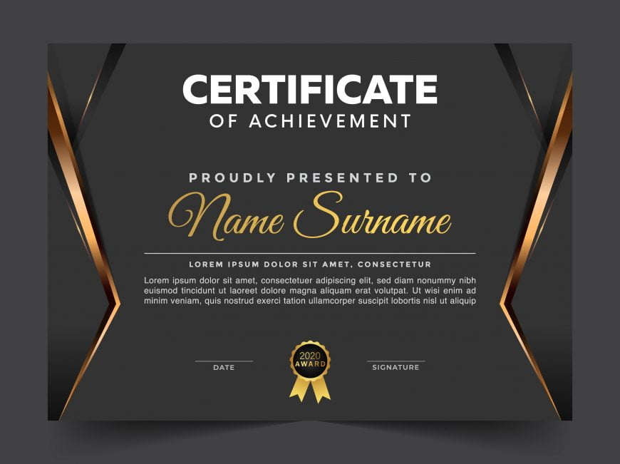 Luxury dark diploma certificate archievement template
