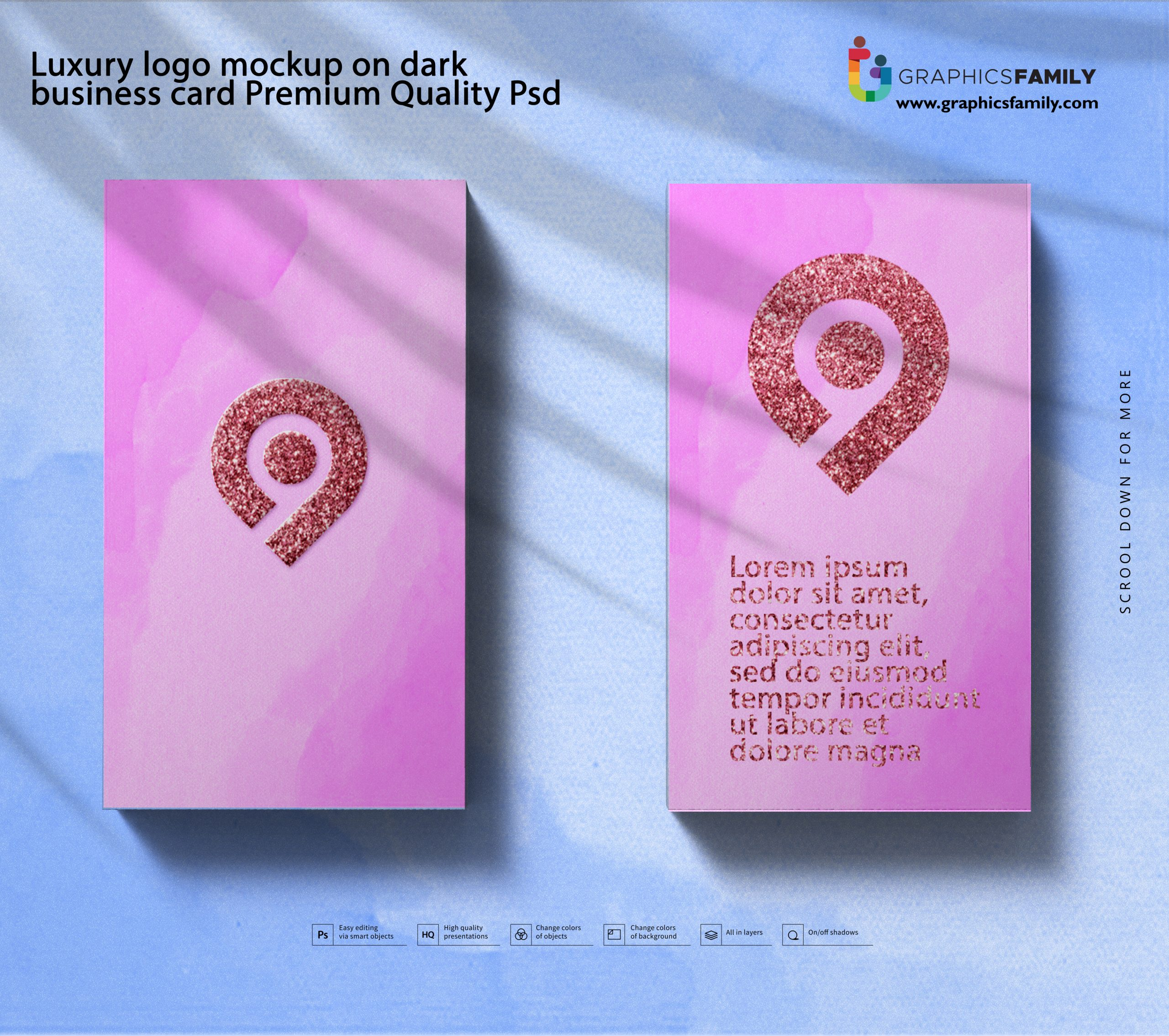 Luxury logo mockup on dark business card Premium Quality Psd Download