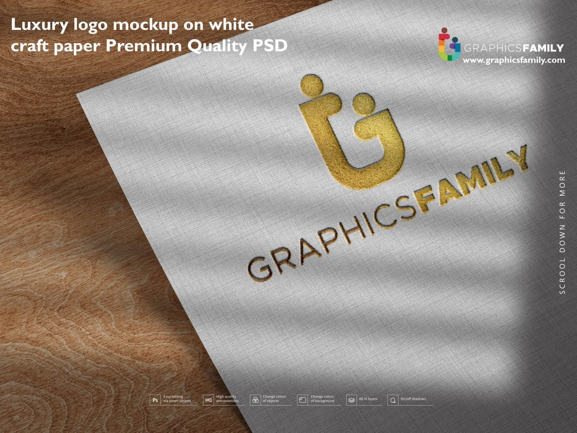 Luxury logo mockup on white craft paper Premium Quality Psd