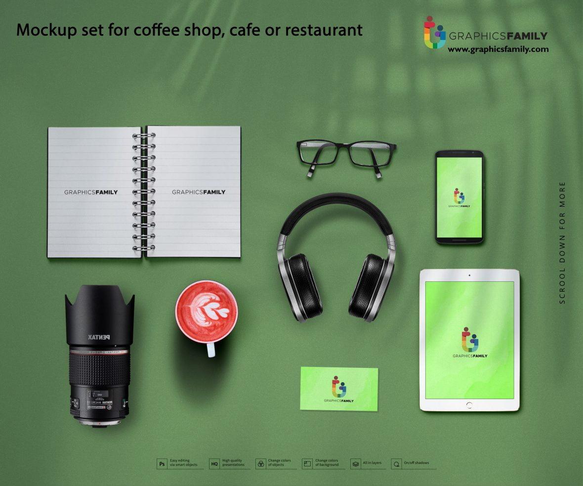 Mockup set for coffee shop, cafe or restaurant download