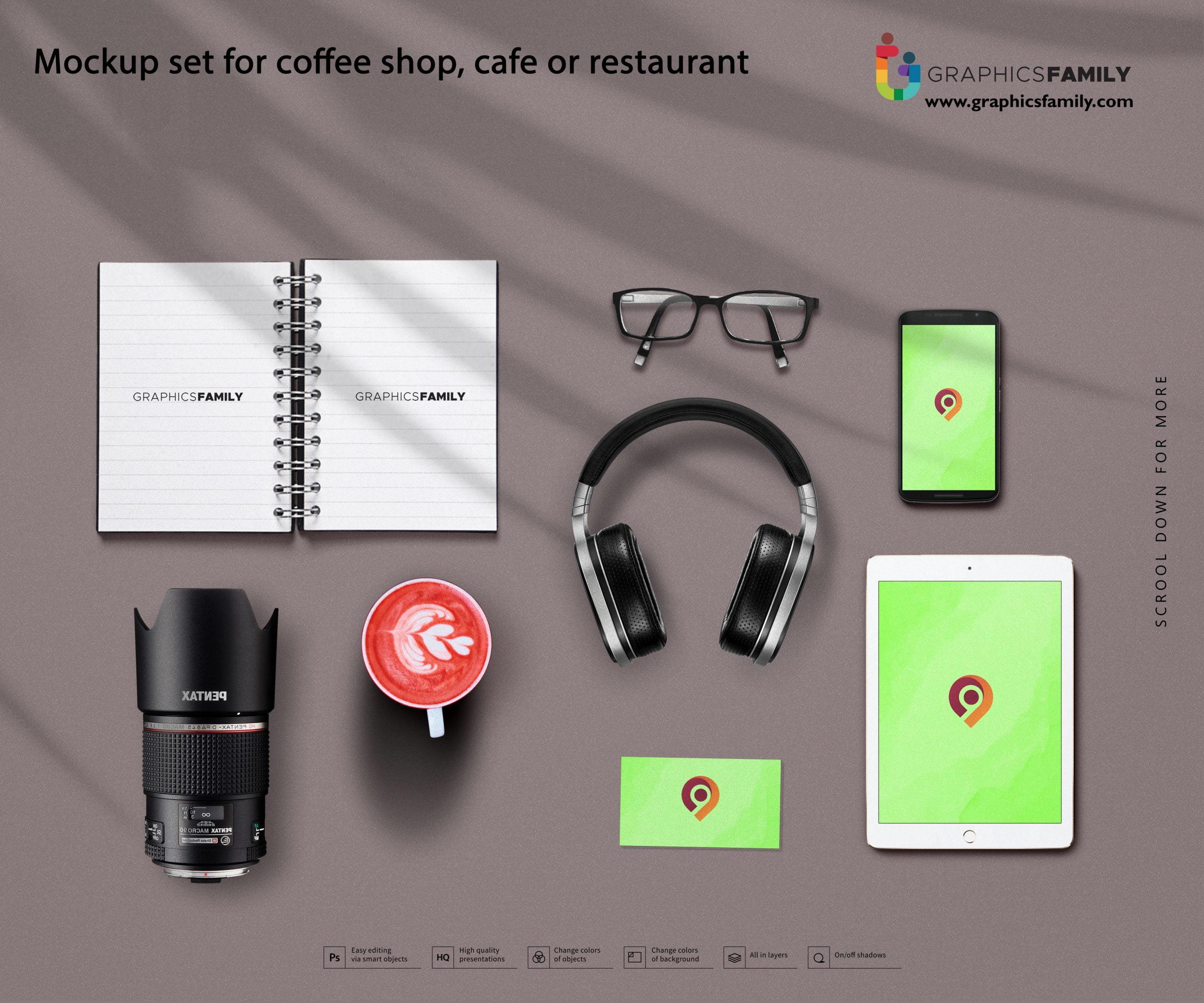 Mockup set for coffee shop, cafe or restaurant