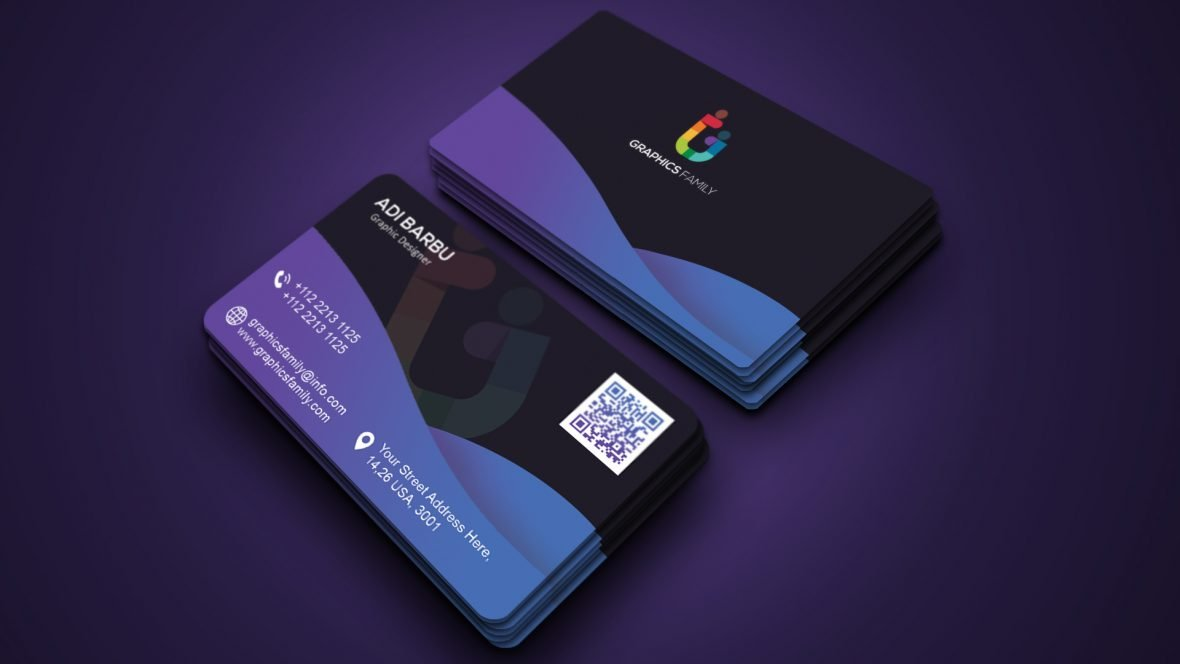 Modern Abstract Gradient Dark Business Card Template