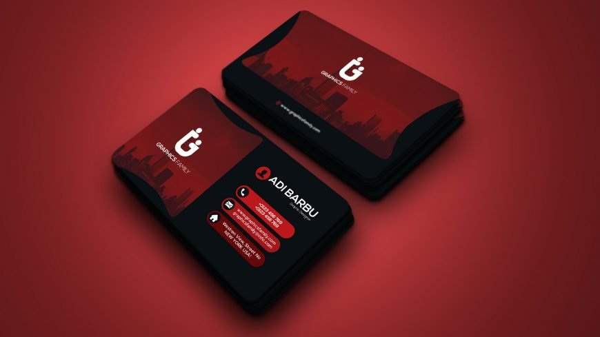 Modern Black and Red Elegant Visit Card Template Design