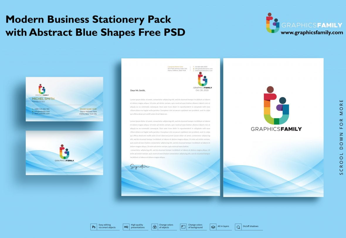 💙☄️ Modern Business Stationery Pack with Abstract Blue Shapes Free Psd 2