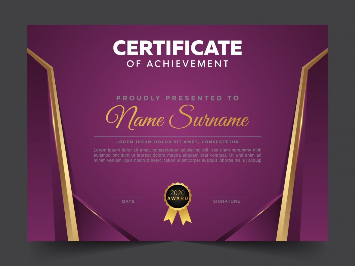 💜👨 Modern Certificate of Honor Ready to Print Template